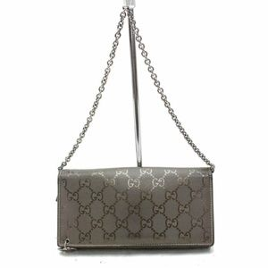 Gucci Pewter Imprime Monogram GG Wallet on Chain